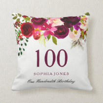 Burgundy Red Floral Boho 100th Birthday Gift Throw Pillow