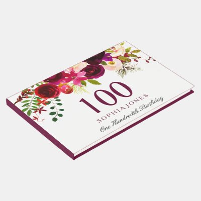 bouquet of pink roses 100th birthday guest book zazzle com