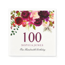 Burgundy Red Floral Boho 100th Birthday Party Napkin