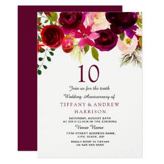 Burgundy Red Floral Boho 10th Wedding Anniversary Card