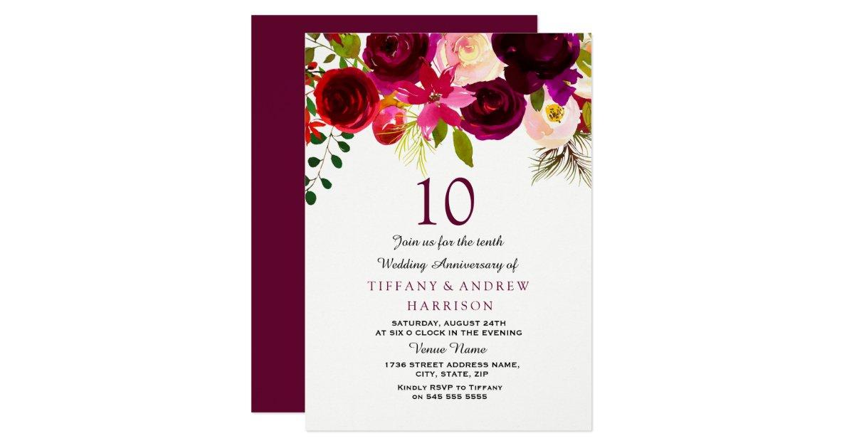 10th Wedding Anniversary Invitations: Burgundy Red Floral Boho 10th Wedding Anniversary