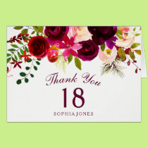Burgundy Red Floral Boho 18th Birthday Thank You Card