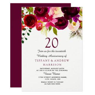 Burgundy Red Floral Boho 20th Wedding Anniversary Invitation