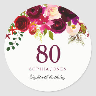Burgundy Red Floral Boho 80th Birthday Party Classic Round Sticker