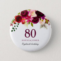 Burgundy Red Floral Boho 80th Birthday Party Pinback Button