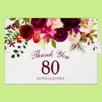 Burgundy Red Floral Boho 80th Birthday Thank You Card