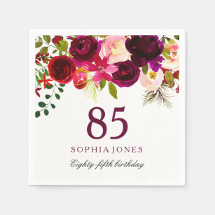 Burgundy Red Floral Boho 85th Birthday Party Paper Napkin