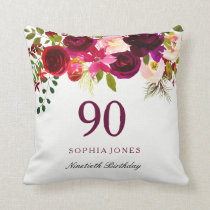Burgundy Red Floral Boho 90th Birthday Gift Throw Pillow