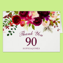 Burgundy Red Floral Boho 90th Birthday Thank You Card