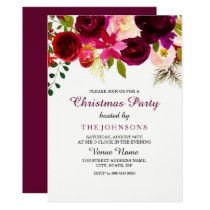 Burgundy Red Floral Boho Christmas Party Invite