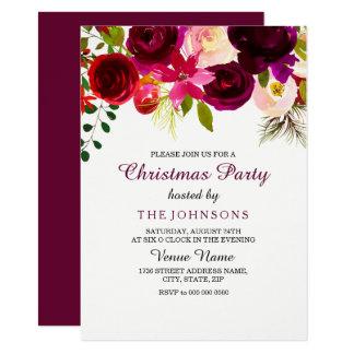 Burgundy Red Floral Boho Christmas Party Invite