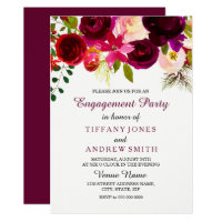Burgundy Red Floral Boho Engagement Party Invite