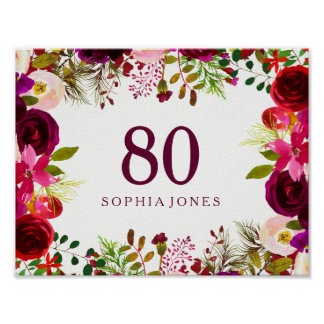 Burgundy Red Floral Boho Sign 80th Birthday Party