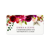Burgundy Red Floral Boho Wedding Address Labels