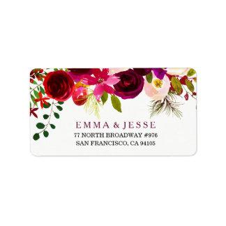 Burgundy Red Floral Boho Wedding Address Labels