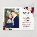 """Burgundy Red Floral Chic Save the Date Photo Announcement Postcard<br><div class=""""desc"""">Burgundy Red Floral Chic Save the Date Photo Postcard.  (1) For further customization,  please click the &quot;customize further&quot; link and use our design tool to modify this template.  (2) If you need help or matching items,  please contact me.</div>"""