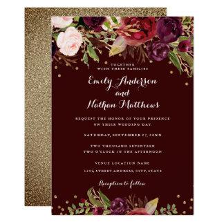 Burgundy Red Floral Confetti Wedding Invitation