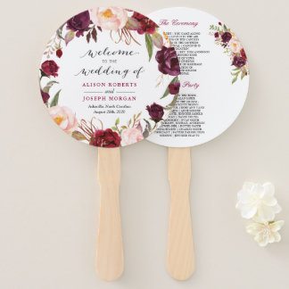 Burgundy Red Floral Contemporary Wedding Program Hand Fan