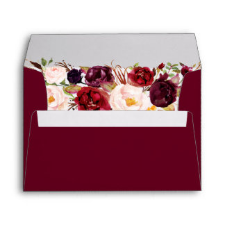 Burgundy Red Floral Fall Envelope