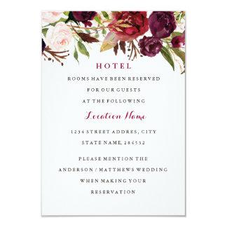 Burgundy Red Floral Fall Wedding Hotel Card