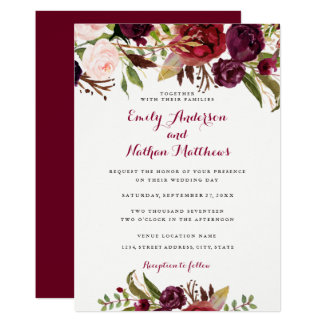 Burgundy Red Floral Fall Wedding Invitation