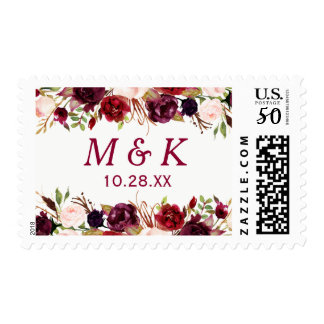 Burgundy Red Floral Fall Wedding Monogram Postage