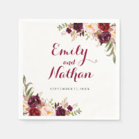 Burgundy Red Floral Fall Wedding Napkin