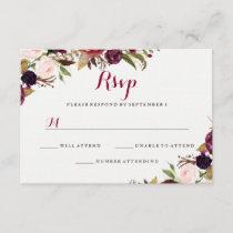 Burgundy Red Floral Fall Wedding RSVP