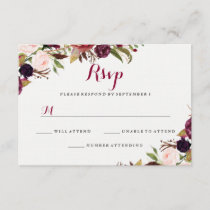 Burgundy Red Floral Fall Wedding RSVP