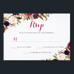 """Burgundy Red Floral Fall Wedding RSVP Card<br><div class=""""desc"""">Elegant wedding rsvp featuring a burgundy red watercolor floral design. Matching Wedding Collection in the Little Bayleigh Store!</div>"""