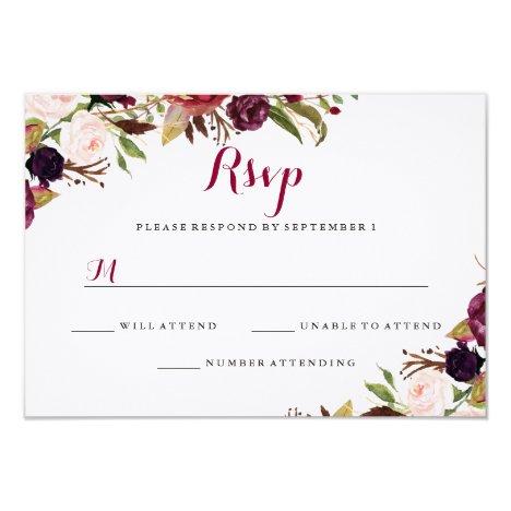 Burgundy Red Floral Fall Wedding RSVP Card