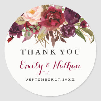 Burgundy Red Floral Fall Wedding Sticker