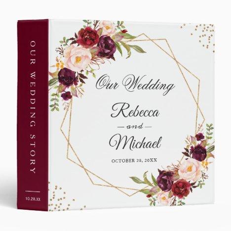 Burgundy Red Floral Gold Geometric Wedding Albums 3 Ring Binder