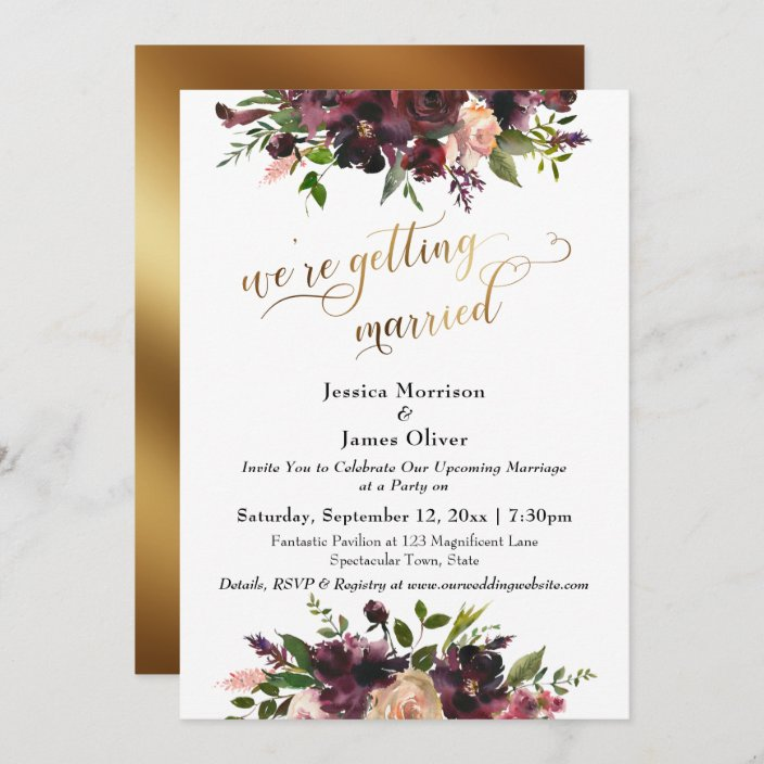 Fancy Getting Married Later Blush /& Burgundy Wedding Card with any Text\u2022Floral Card