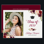 """Burgundy Red Floral Grad Photo Graduation Party Card<br><div class=""""desc"""">Burgundy Red Floral Grad Photo Graduation Party Announcement and Invitation. (1) For further customization, please click the &quot;customize further&quot; link and use our design tool to modify this template. (2) If you prefer Thicker papers / Matte Finish, you may consider to choose the Matte Paper Type. (3) If you need...</div>"""