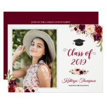 Burgundy Red Floral Grad Photo Graduation Party Card