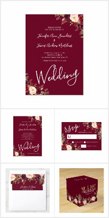 Burgundy Red Floral Hand Lettered Rustic Wedding
