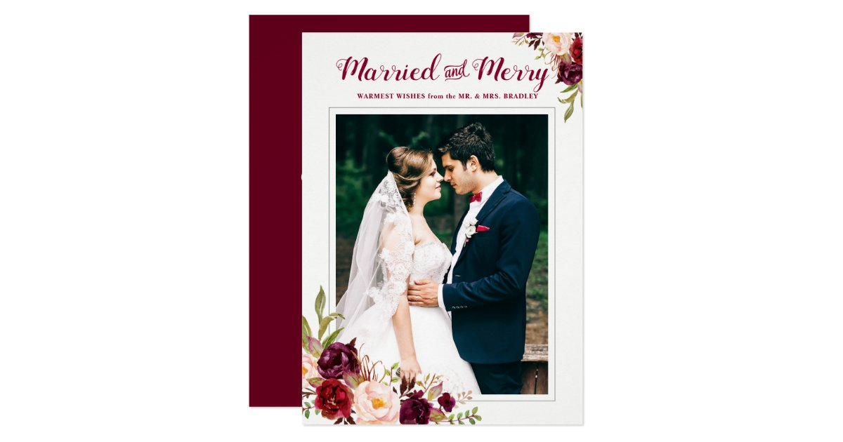 Burgundy Red Floral Married Merry Christmas Photo Card