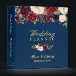 """Burgundy Red Floral Navy Blue Gold Wedding Planner Binder<br><div class=""""desc"""">Customize this &quot;Burgundy Red Floral Navy Blue Gold Wedding Planner Binder&quot; to add a special touch. It&#39;s easy to personalize to match your wedding colors, styles and theme. (1) For further customization, please click the &quot;customize further&quot; link and use our design tool to modify this template. (2) If you need...</div>"""