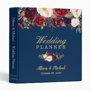 Burgundy Red Floral Navy Blue Gold Wedding Planner Binder