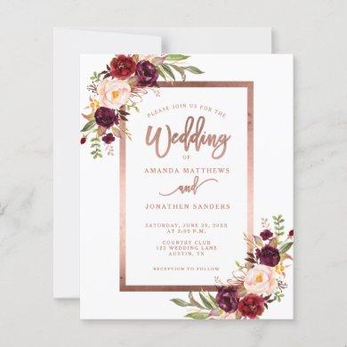Burgundy Red Floral Rose Gold Script Wedding
