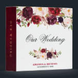"""Burgundy Red Floral Rustic Boho Wedding Album 3 Ring Binder<br><div class=""""desc"""">Watercolor Burgundy Red Floral Rustic Boho Wedding Photo album binder. Perfect for a fall wedding. The design features a stunning bouquet of burgundy / Marsala , peach , navy flowers / roses with matching leaves. Please find more matching designs and variations in my &quot;blissweddingpaperie&quot; store. And feel free to contact...</div>"""