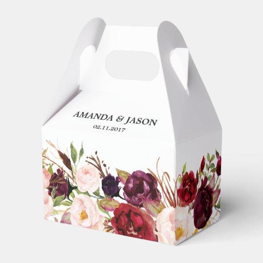 Burgundy Red Floral Rustic Boho Wedding Favor Box Zazzle