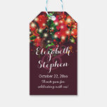 Burgundy Red Floral String Light Wedding Thank You Gift Tags