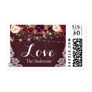 Burgundy Red Floral String Lights Lace Love Script Postage