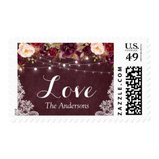 Burgundy Red Floral String Lights Lace Love Script Postage