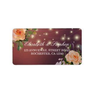 Burgundy Red Floral String Lights Wedding Address Label