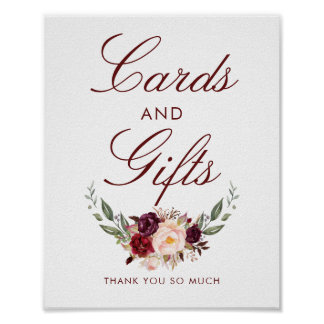 Burgundy Red Floral Wedding Cards and Gifts Sign