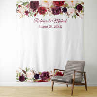 Burgundy Red Floral Wedding Photo Booth Backdrop