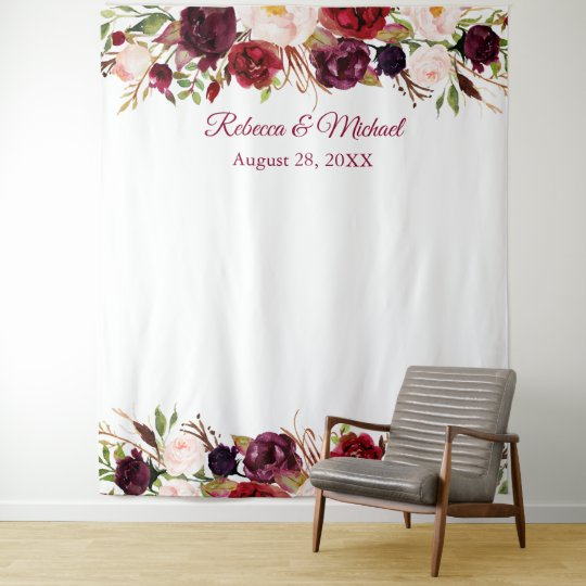 Burgundy Red Floral Wedding Photo Booth Backdrop Zazzle Com